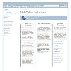 Adult Virtual Icebreakers - Adult Online Teaching Strategies