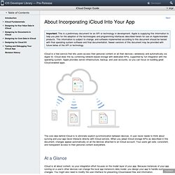 iCloud Design Guide: About Incorporating iCloud Into Your App