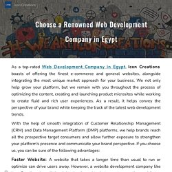Choose a Renowned Web Development Company in Egypt