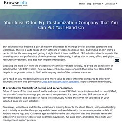 Your Ideal Odoo Erp Customization Company That You Can Put Your Hand On