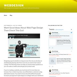 Want Good Ideas About Web Page Design Then Check This Out! - Webdesign