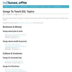 Ideas for songs to teach ESL topics - TeflTunes.com
