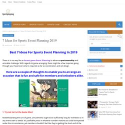 7 Ideas for Sports Event Planning 2019