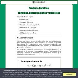 PRODUCTOS E IDENTIDADES NOTABLES: DEMOSTRACIONES Y EJERCICIOS RESUELTOS