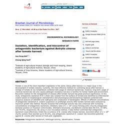 Braz. J. Microbiol. vol.48 no.4 São Paulo Oct./Dec. 2017 Isolation, identification, and biocontrol of antagonistic bacterium against Botrytis cinerea after tomato harvest
