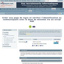 Créer une page de login et vérifier l'identification en communiquant avec la base de données via un script PHP