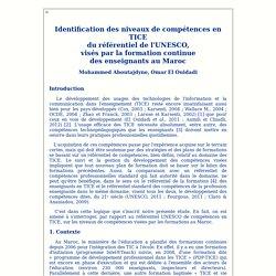 Identification des niveaux de compétences en TICE visés par la formation continue des enseignants au Maroc