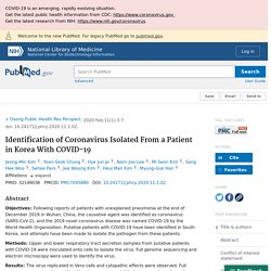 Identification of Coronavirus Isolated From a Patient in Korea With COVID-19 - PubMed