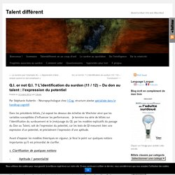 Q.I. or not Q.I. ? L'identification du surdon (11 / 12) – Du don au talent : l'expression du potentiel