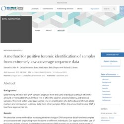 A method for positive forensic identification of samples from extremely low-coverage sequence data