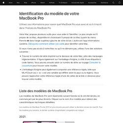 Identification du modèle de votre MacBookPro