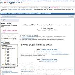 Arrêté du 8 avril 2009 relatif aux marques d'identification des navires de plaisance en mer