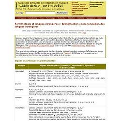 Identification et prononciation des langues étrangères