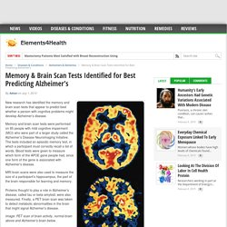 Memory & Brain Scan Tests Identified for Best Predicting Alzheimer's