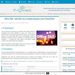 Office 365 : Identifier les comptes bloqués avec PowerShell