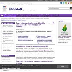 """EDD en action - Trois critères simples pour identifier une approche """"développement durable"""""""