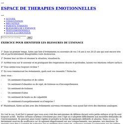 EXERCICE POUR IDENTIFIER LES BLESSURES DE L'ENFANCE - ESPACE DE THERAPIES EMOTIONNELLES
