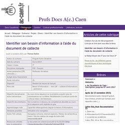 Identifier son besoin d'information à l'aide du document de collecte
