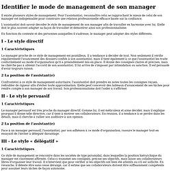 Identifier le mode de Management