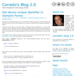 Get device unique identifier in Xamarin Forms « Corrado's Blog 2.0