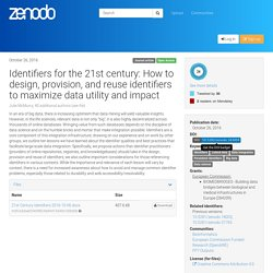 Identifiers for the 21st century: How to design, provision, and reuse identifiers to maximize data utility and impact