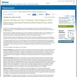 Gartner Identifies the Top 10 Strategic Technologies for 2010