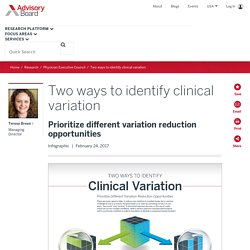 Two ways to identify clinical variation