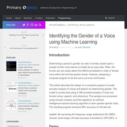 Identifying the Gender of a Voice using Machine Learning