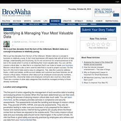 Identifying & Managing Your Most Valuable Data