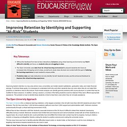 """Improving Retention by Identifying and Supporting """"At-Risk"""" Students (EDUCAUSE Review)"""