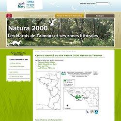 Carte d'identité du site Natura 2000 Marais de Talmont