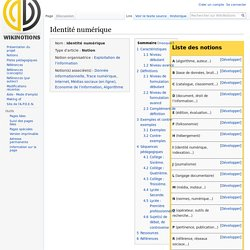 Identité numérique - WikiNotions