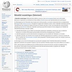 Identité numérique (Internet) _Ressource de Référence 1_Wikipedia