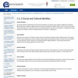 2.1.3 Social and Cultural Identities — Moniviestin
