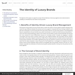 The Identity of Luxury Brands