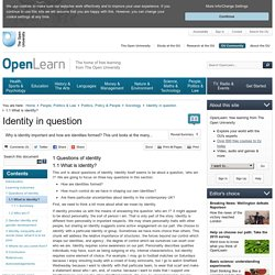 Identity in question: 1.1 What is identity? - OpenLearn - Open University - DD100_2