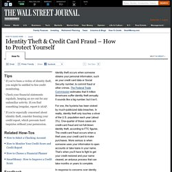 Identity Theft & Credit Card Fraud – How to Protect Yourself - Personal Finan...
