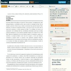 Richard Lichtman - La teoría de la ideología en Marx (Cuadernos Políticos #10 - octubre-diciembre de 1976)