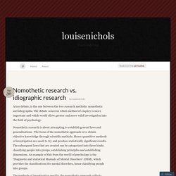 Nomothetic research vs. idiographic research « louisenichols