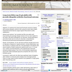 Long‐term follow‐up of 246 adults with juvenile idiopathic arthritis: functional outcome