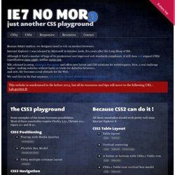 ie7nomore.com, just another CSS playground