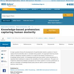 Knowledge-based prehension: capturing human dexterity