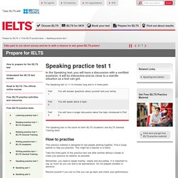 IELTS Speaking practice test 1