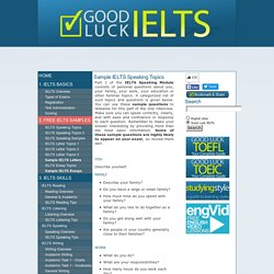 IELTS Speaking: Sample IELTS Speaking Topics