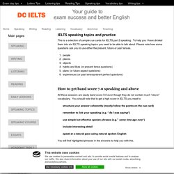 DC IELTS speaking topics - Part 2 cue cards