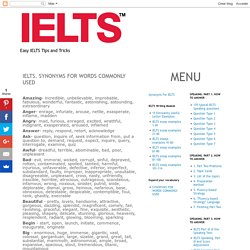 IELTS. SYNONYMS FOR WORDS COMMONLY USED