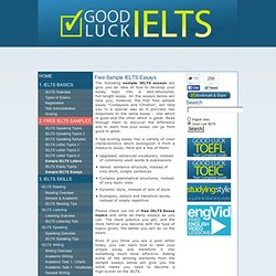 IELTS Writing: Free Sample IELTS Essays
