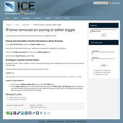 IFrame removed on saving or editor toggle