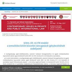 9/2015. (III. 13.) FM rendelet - a termeléshez kötött közvetlen támogatások igénybevételének szabályairól