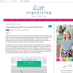 IHeart Organizing: UHeart Organizing: DIY Canvas Color-Blocked Totes